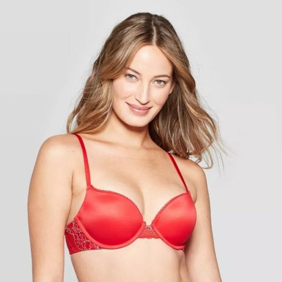 Auden Other - Auden Red Floral Lace Convertible Push Up Bra